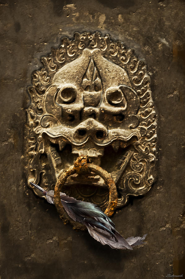 Architectural Photograph - Temple Guardian With Feather by Larry Butterworth