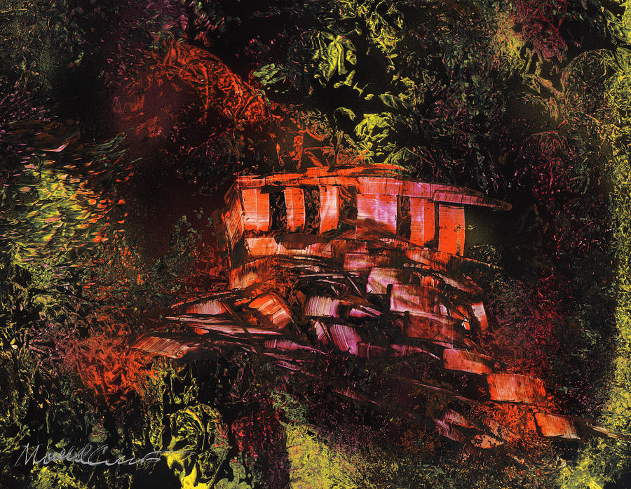 Temple Painting - Temple In The Woods by Mike Cicirelli