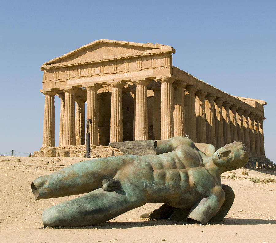 Temple Of Concord Photograph - Temple Of Concord And Icarus Fallen by Rachel Down
