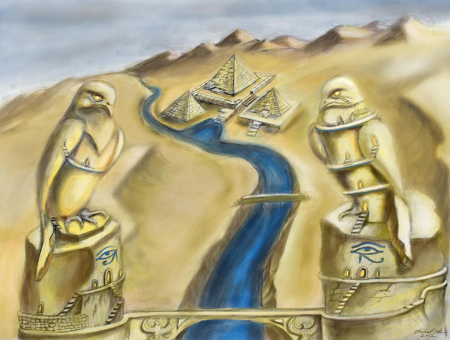 Horus Digital Art - Temple Of Horus Two Out Of Three by Michael Cook