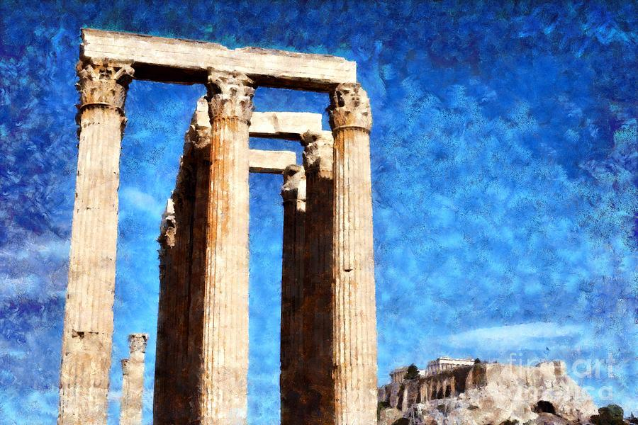 Temple Of Olympian Zeus And Acropolis Painting by George Atsametakis