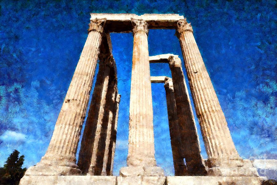 Temple Of Olympian Zeus  Painting by George Atsametakis