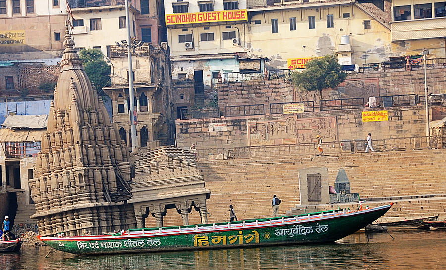 India Photograph - Temple On Boat by Money Sharma