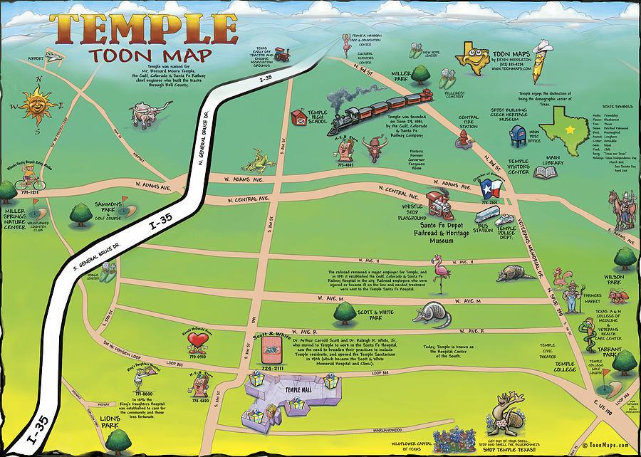 Temple Texas Cartoon Map Digital Art By Kevin Middleton