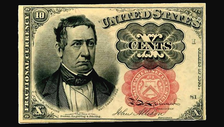 Old Painting - Ten Cents 5th Issue U.s. Fractional Currency Fr 1266 by Lanjee Chee