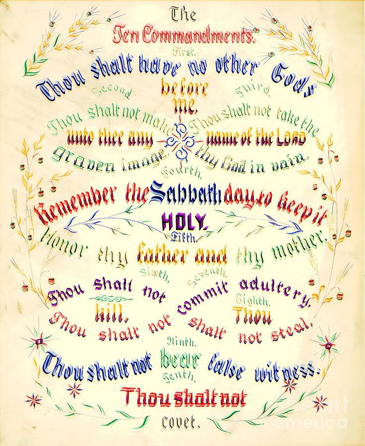 Ten Commandments Calligraphy 1889 Photograph By Padre Art