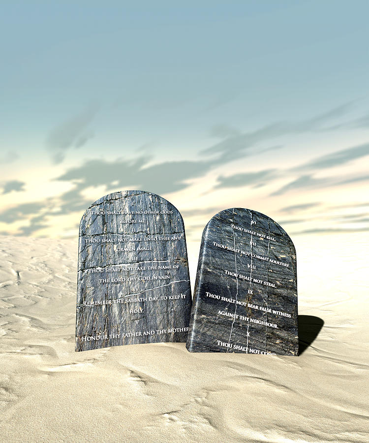 Ten Commandments Digital Art - Ten Commandments Standing In The Desert by Allan Swart