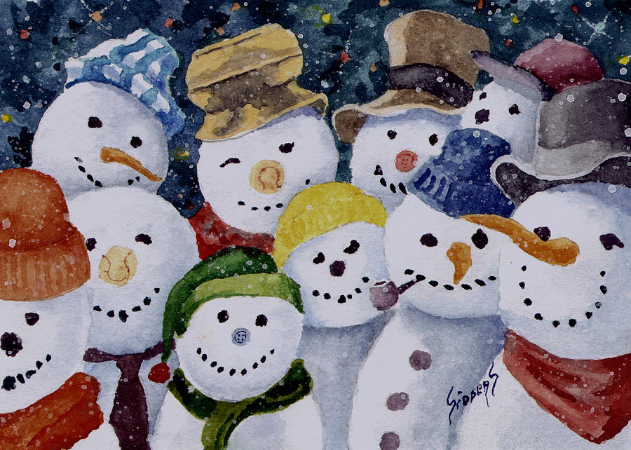 Snowmen Painting - Ten Little Snowmen by Sam Sidders
