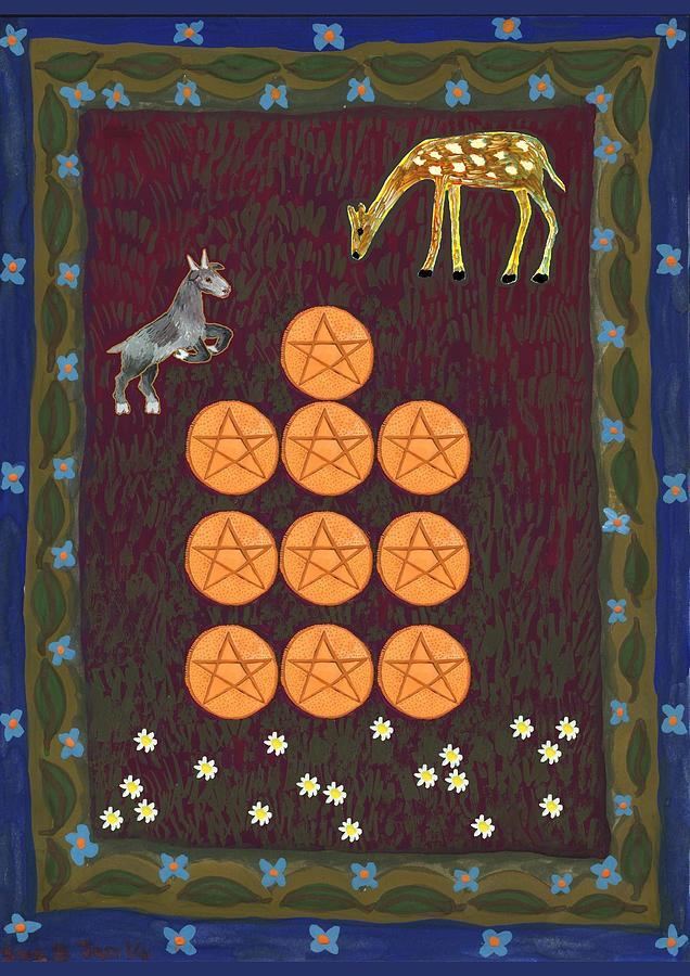 Tarot Painting - Ten Of Pentacles by Sushila Burgess