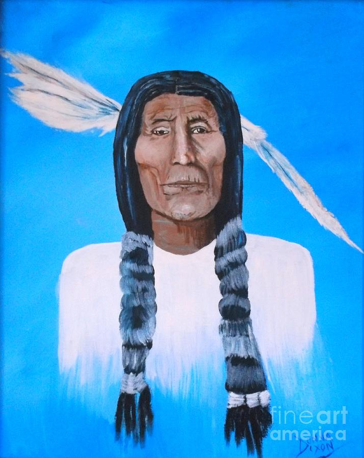 Original Painting - Chief Wolf Robe by Donna Dixon