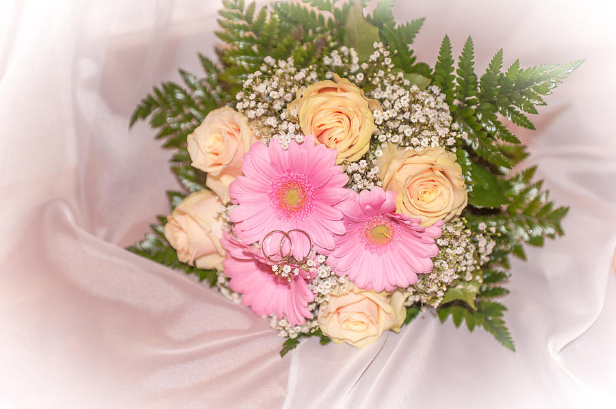 Wedding Photograph - Tender Bridal Bouquet Witn Wedding Rings by Jenny Rainbow
