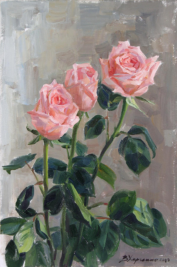 Roses Painting - Tender Roses by Victoria Kharchenko