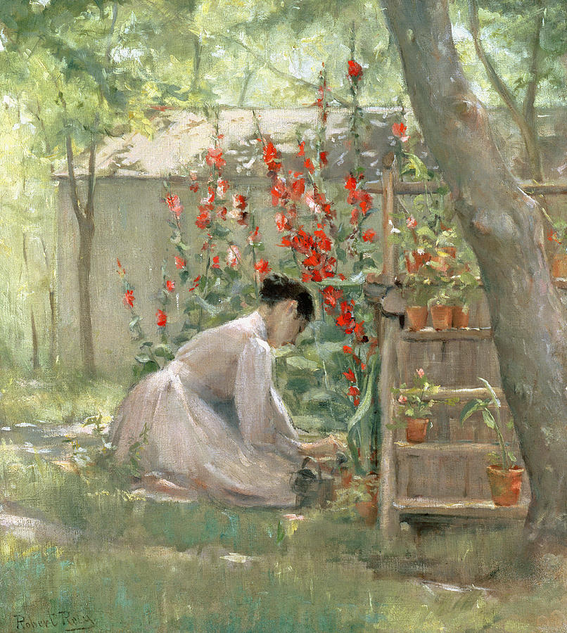 Tending The Garden Painting By Robert Reid