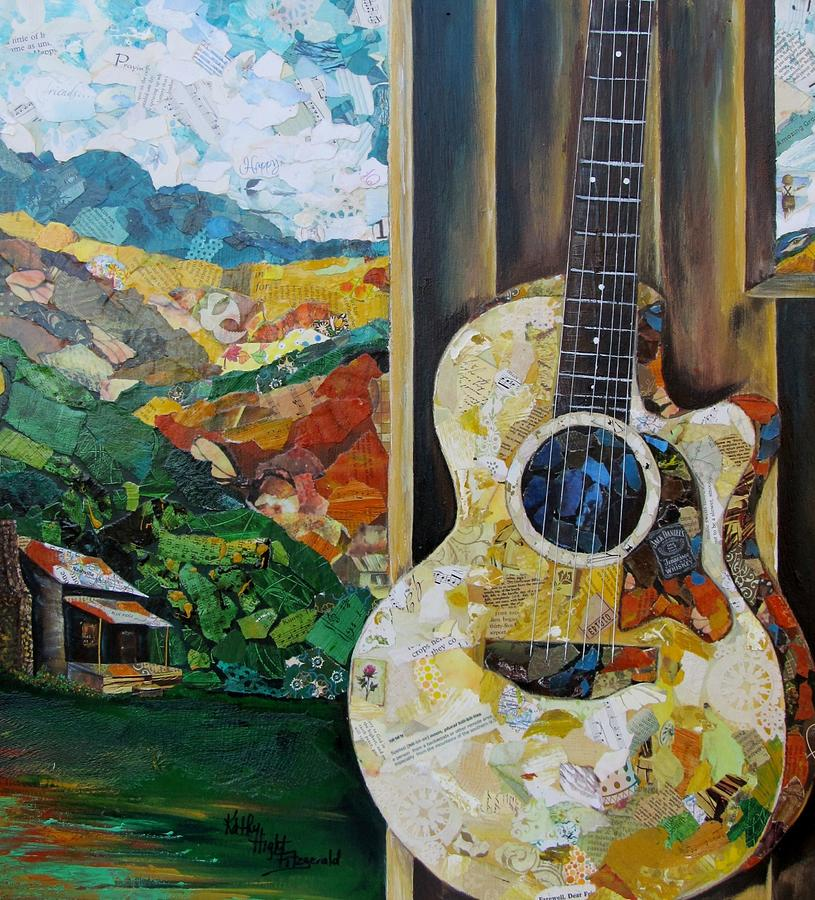 Guitar Painting - Tennessee Hills by Kathy Fitzgerald