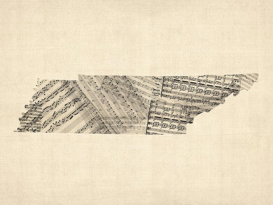 Tennessee Digital Art - Tennessee Map Sheet Music by Michael Tompsett