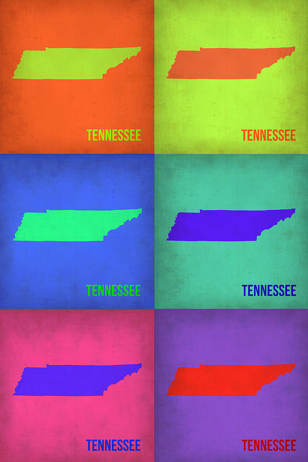 Tennessee Map Painting - Tennessee Pop Art Map 1 by Naxart Studio