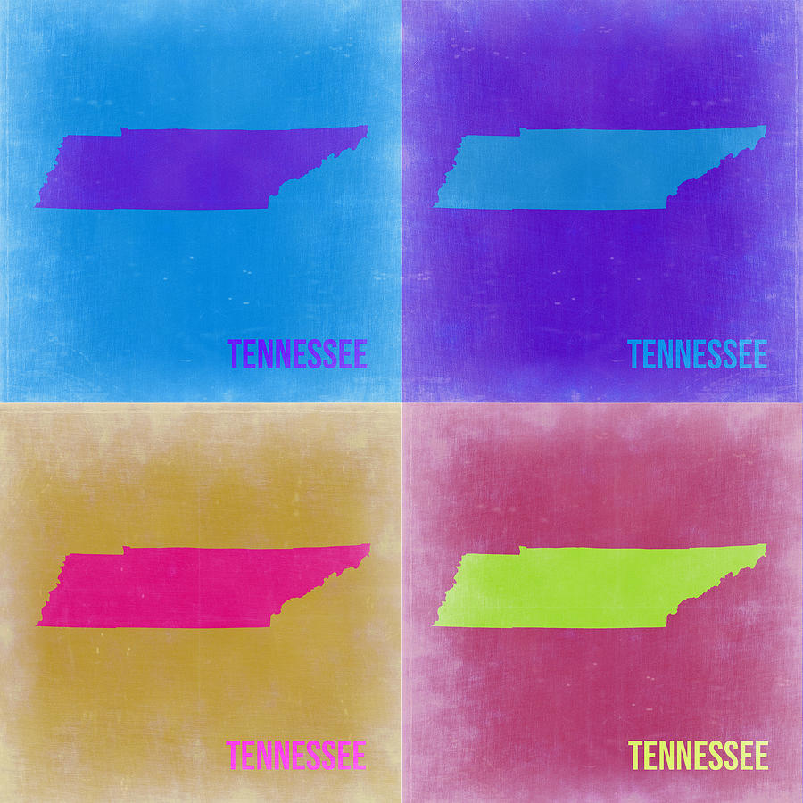 Painting - Tennessee Pop Art Map 2 by Naxart Studio