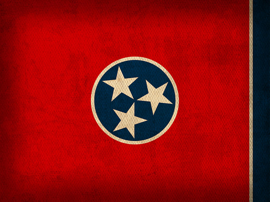 Tennessee Mixed Media - Tennessee State Flag Art On Worn Canvas by Design Turnpike