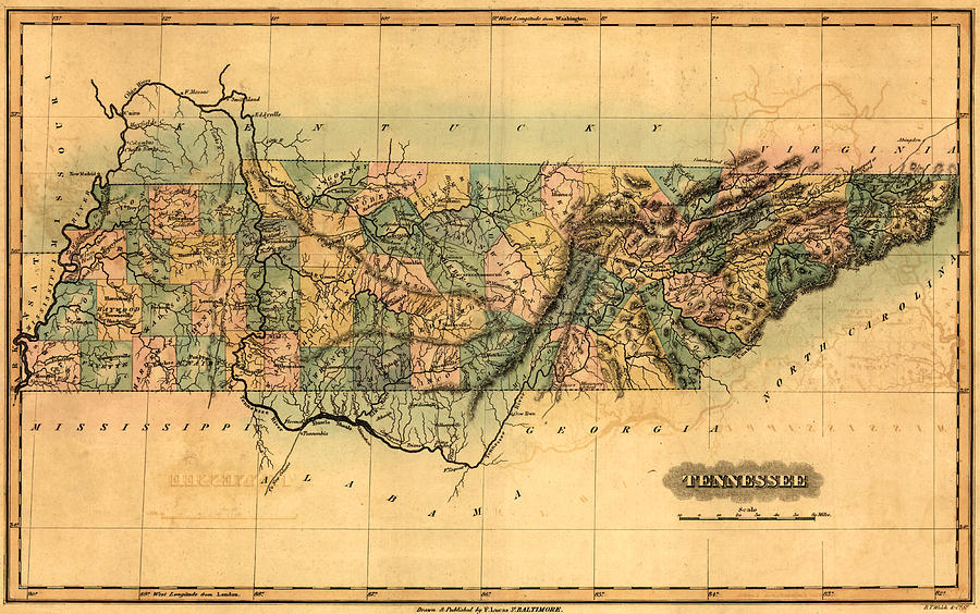 Tennessee Drawing - Tennessee Vintage Antique Map by World Art Prints And Designs
