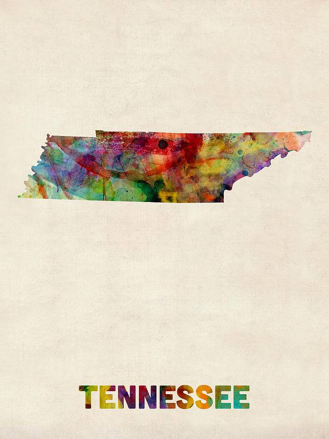 United States Map Digital Art - Tennessee Watercolor Map by Michael Tompsett