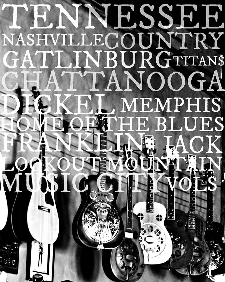 Music City Photograph - Tennessee Words Sign by Chastity Hoff