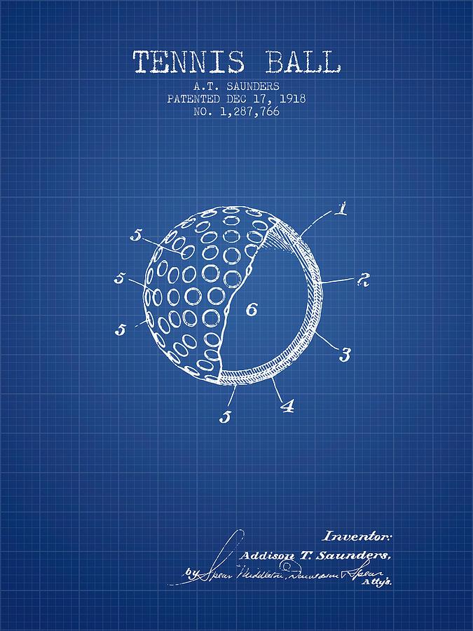 Tennis Ball Patent From 1918 - Blueprint Digital Art