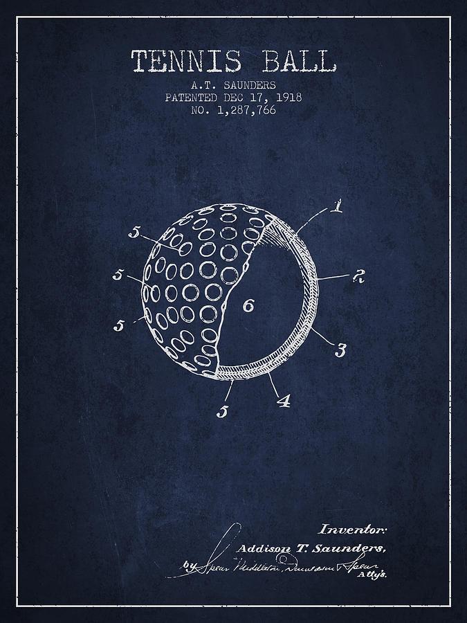Tennis Ball Patent From 1918 - Navy Blue Digital Art