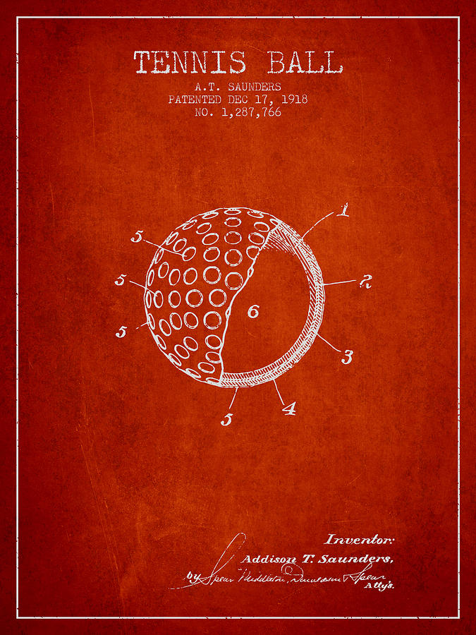Tennis Ball Patent From 1918 - Red Digital Art