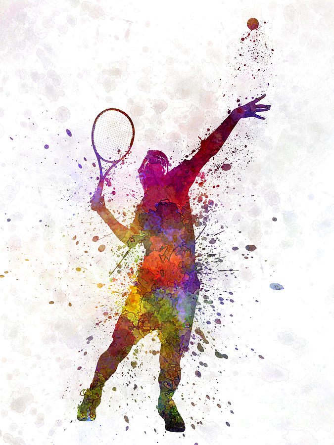 Tennis Player At Service Serving Silhouette 01 Painting by Pablo Romero