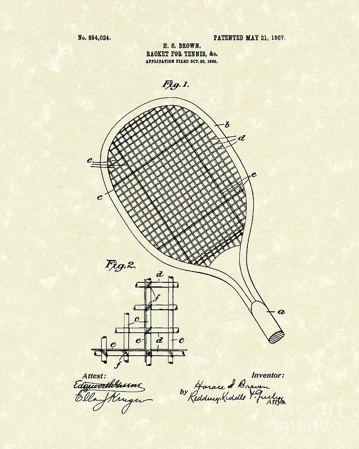 Brown Drawing - Tennis Racket 1907 Patent Art by Prior Art Design