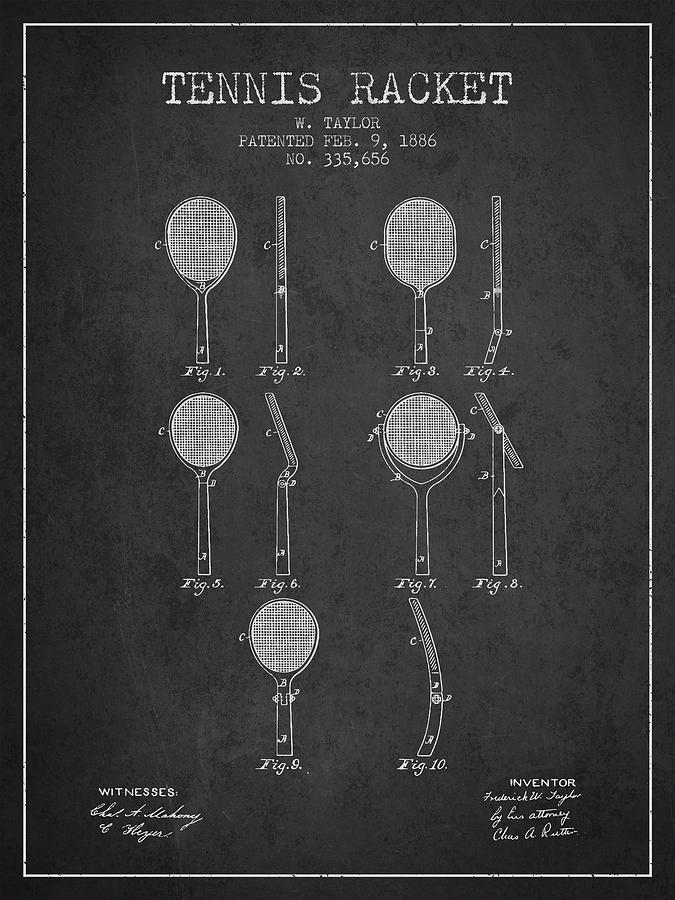 Tennis Racket Patent From 1886 - Charcoal Digital Art