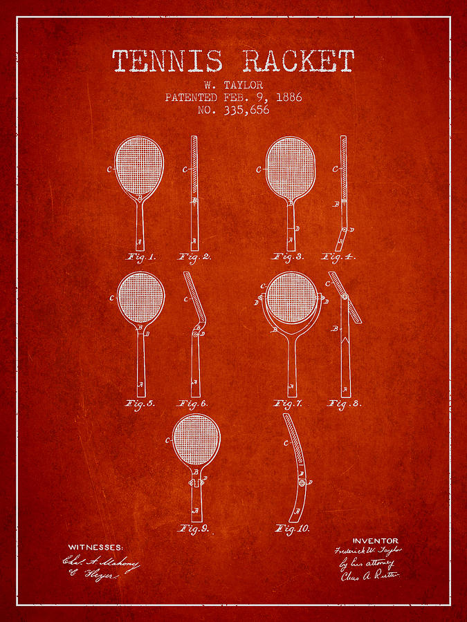 Tennis Racket Patent From 1886 - Red Digital Art