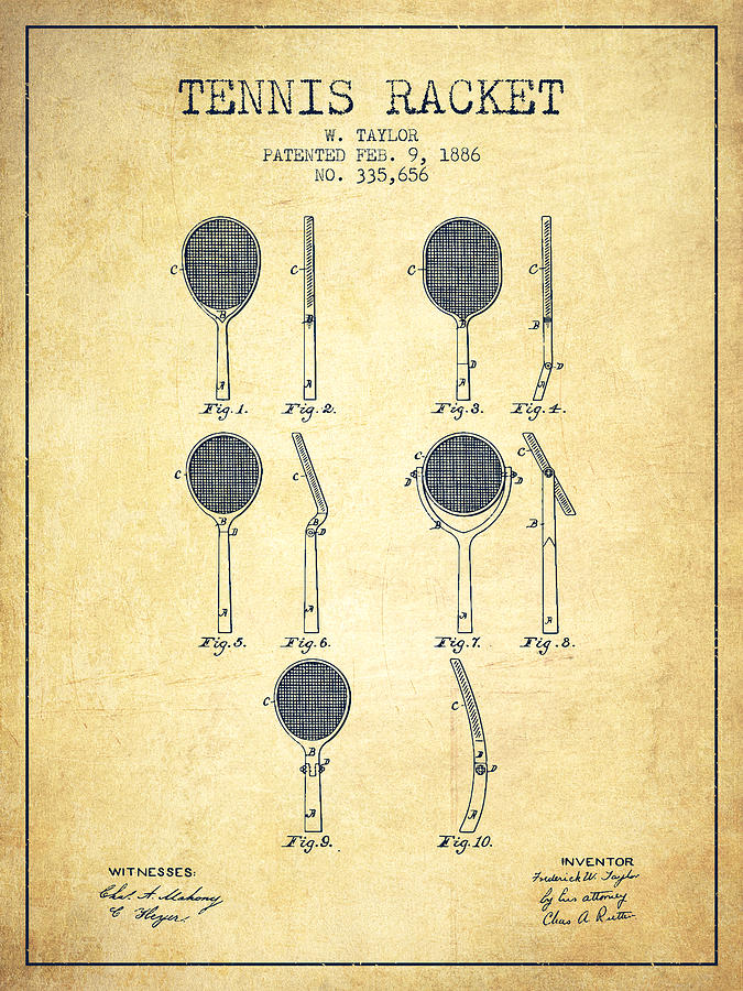 Tennis Racket Patent From 1886 - Vintage Digital Art