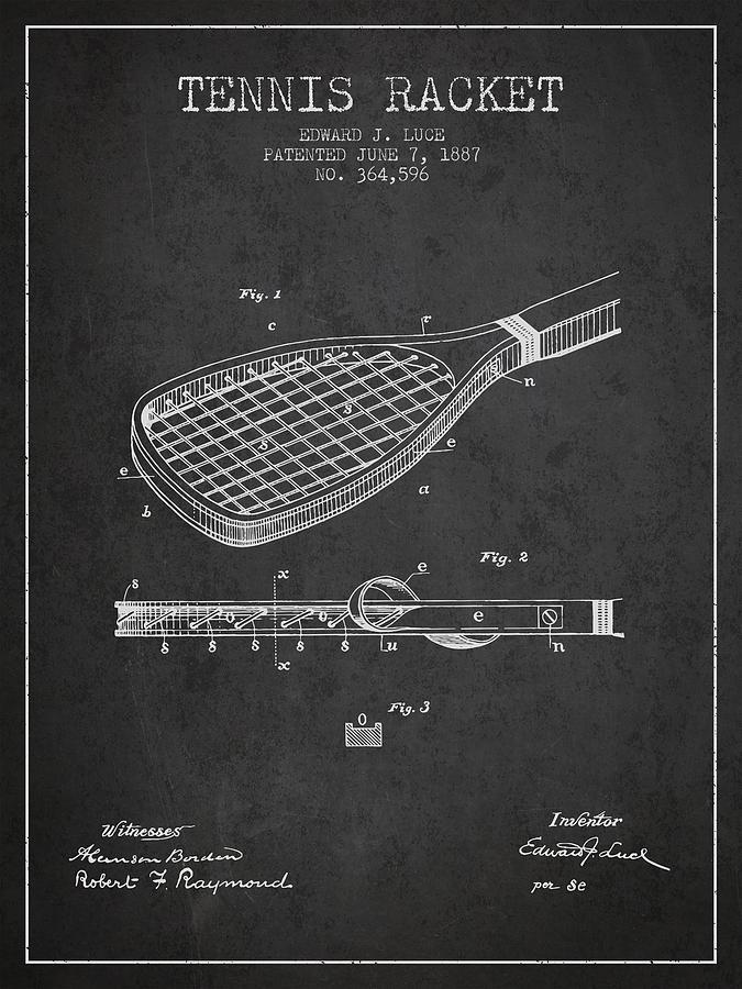 Tennis Racket Patent From 1887 - Charcoal Digital Art