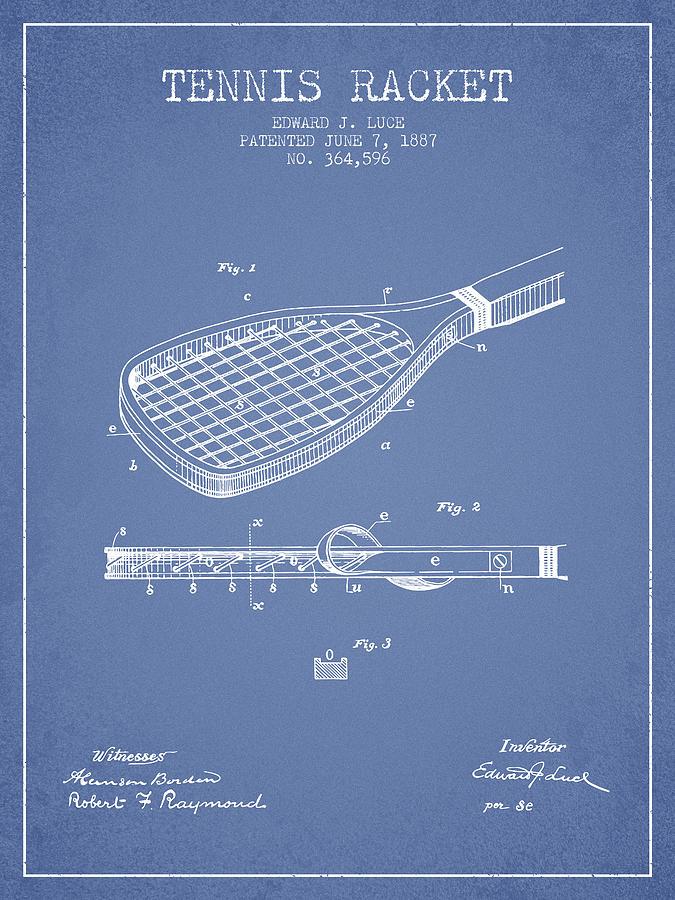 Tennis Racket Patent From 1887 - Light Blue Digital Art
