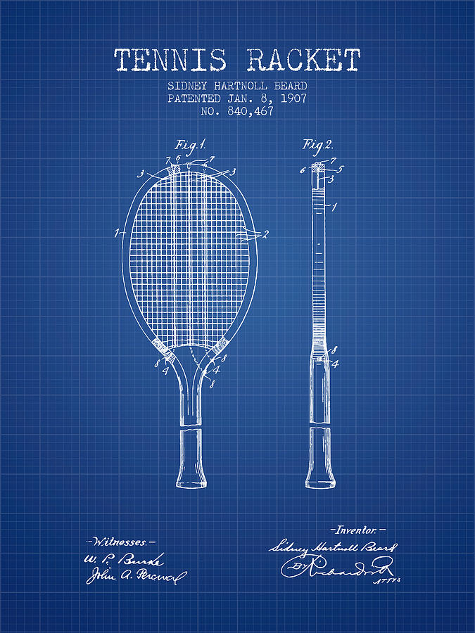 Tennis Racket Patent From 1907 - Blueprint Digital Art
