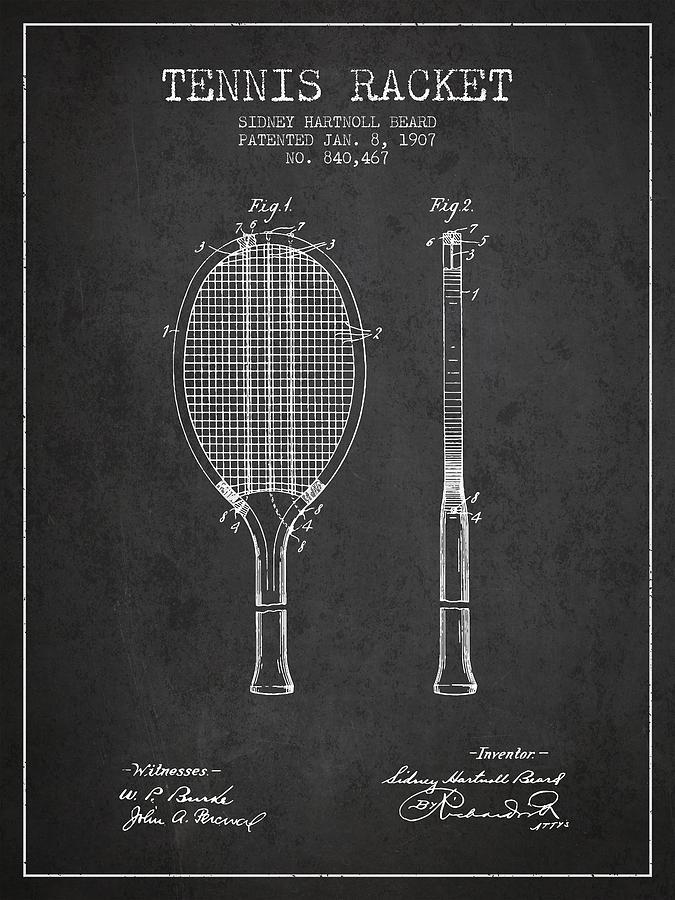 Tennis Racket Patent From 1907 - Charcoal Digital Art