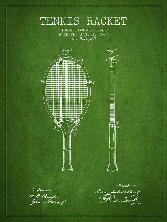 Tennis Racket Digital Art - Tennis Racket Patent from 1907 - Green by Aged Pixel