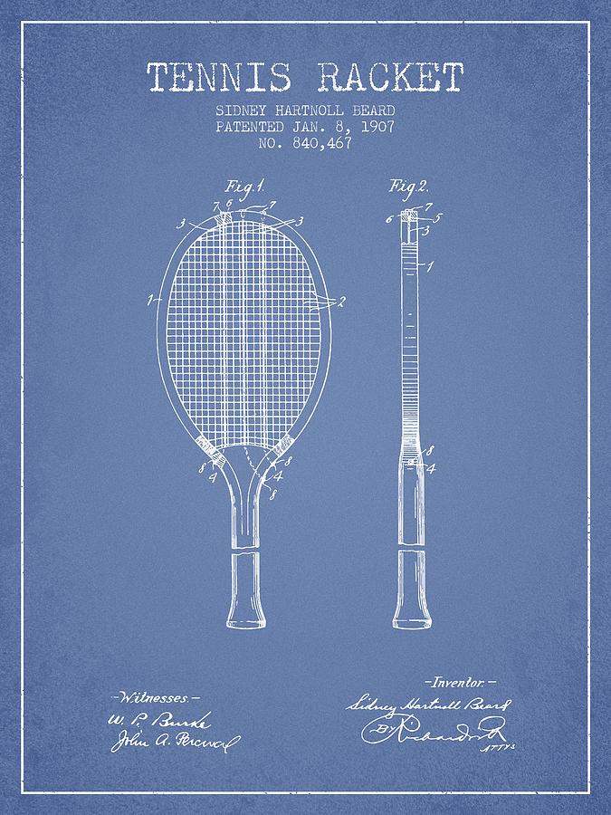 Tennis Racket Patent From 1907 - Light Blue Digital Art