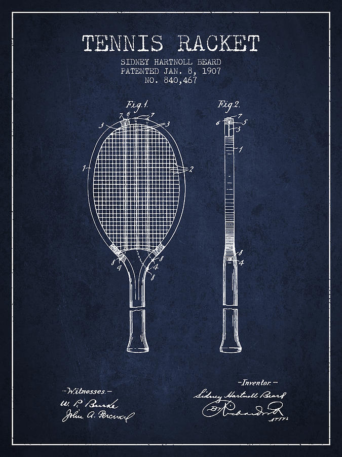 Tennis Racket Patent From 1907 - Navy Blue Digital Art
