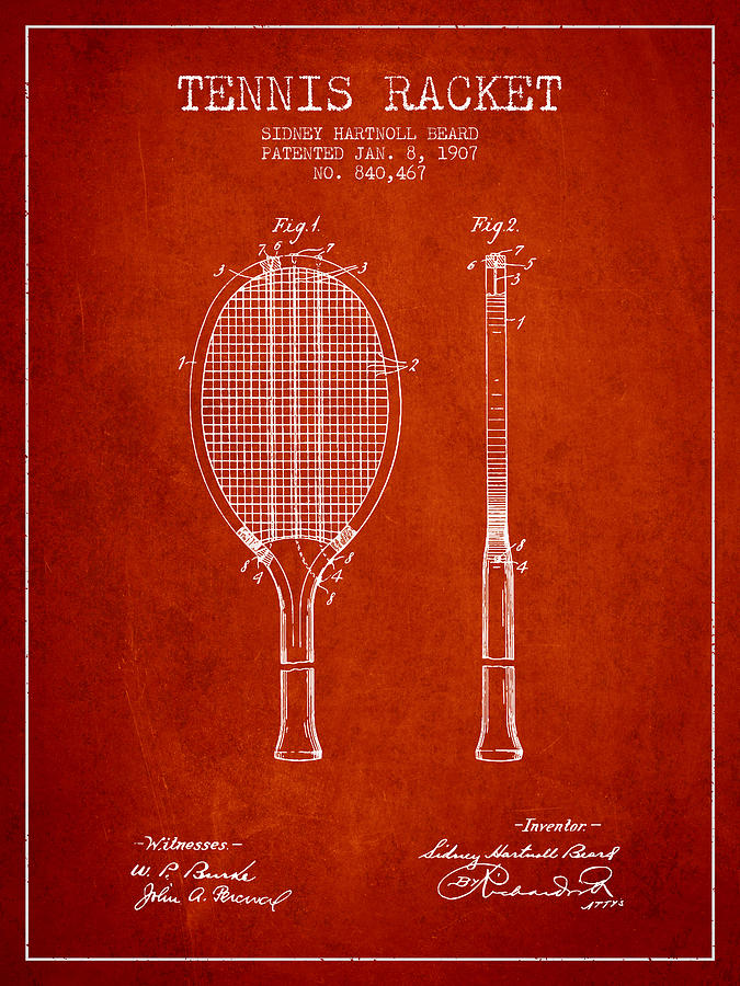 Tennis Racket Patent From 1907 - Red Digital Art