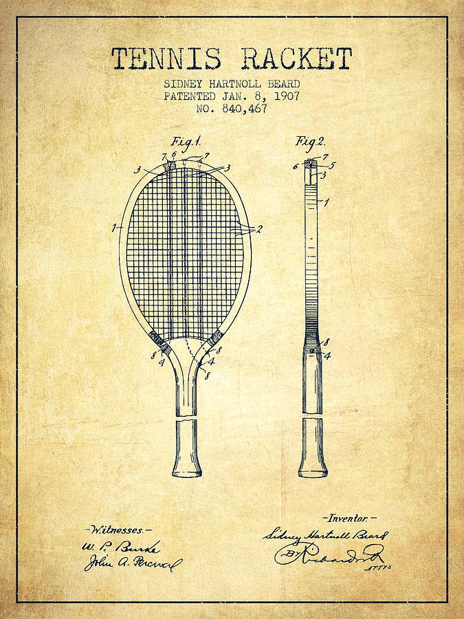Tennis Racket Patent From 1907 - Vintage Digital Art