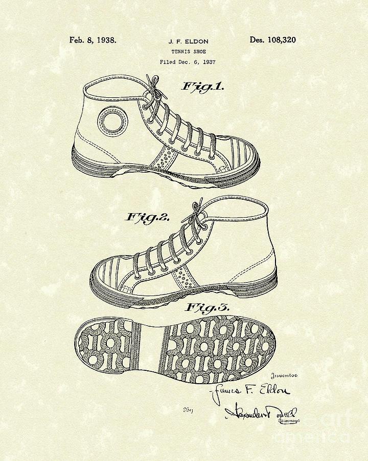 Eldon Photograph - Tennis Shoe 1938 Patent Art by Prior Art Design