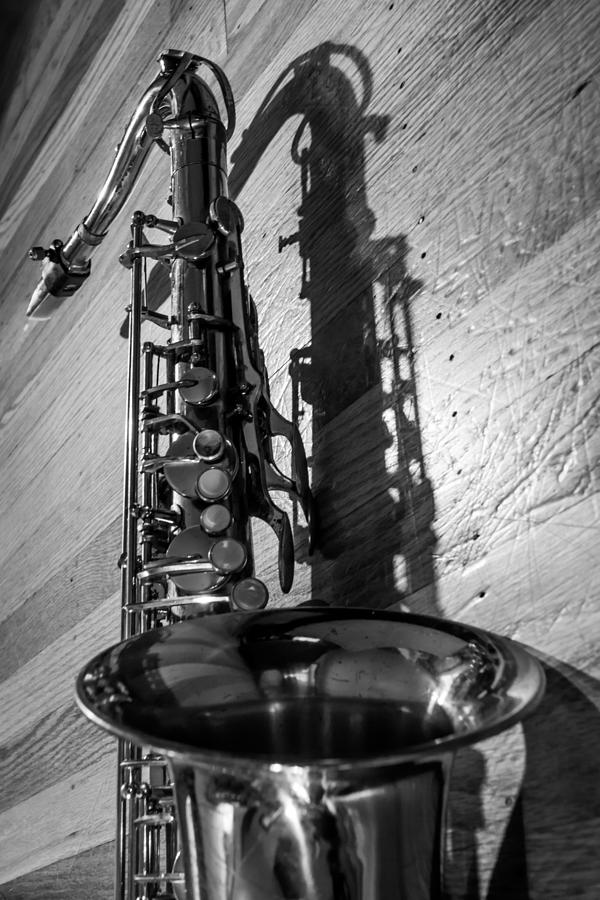 Tenor saxophone black and white vertical photograph by - Black white design studio ...