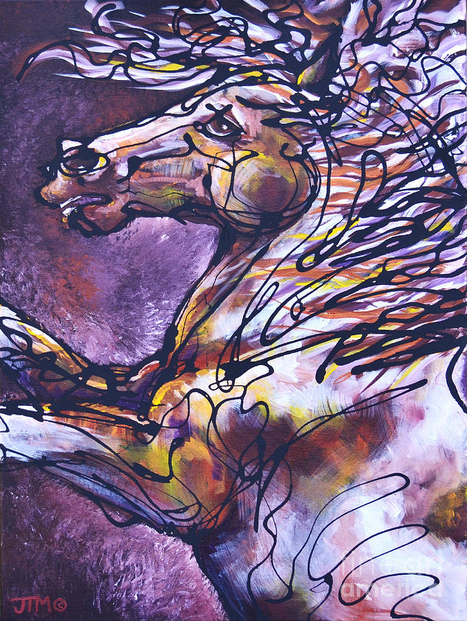 Horse Painting - Tension by Jonelle T McCoy