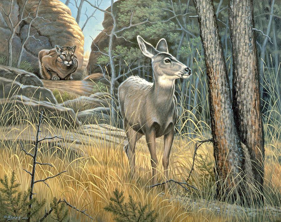 Wildlife Painting - Tension by Paul Krapf
