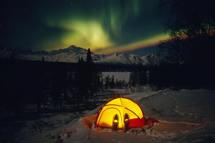 Tent Camping Winter Northern Lights Photograph by Calvin Hall