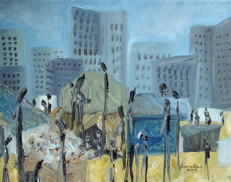 Homeless Painting - Tent City Homeless by Judith Rhue
