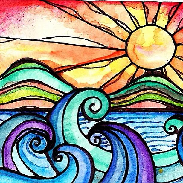 Seascape Photograph - Tequila Sunrise #aceo #artcard #art by Robin Mead