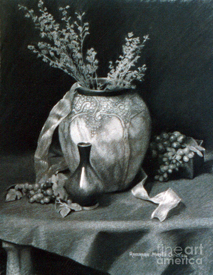 Terra Cotta Urn And Grapes Drawing